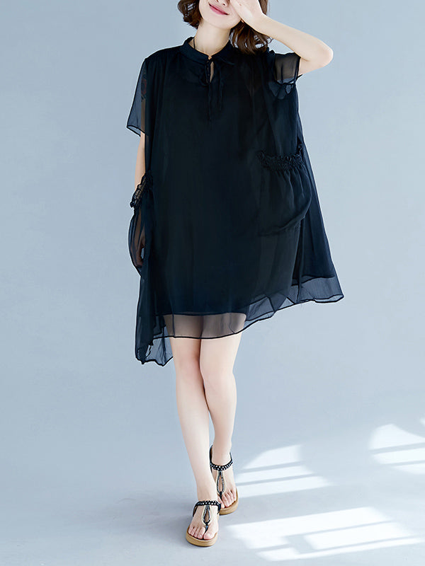 Plus Size Light Chiffon Strap Mini Dresses