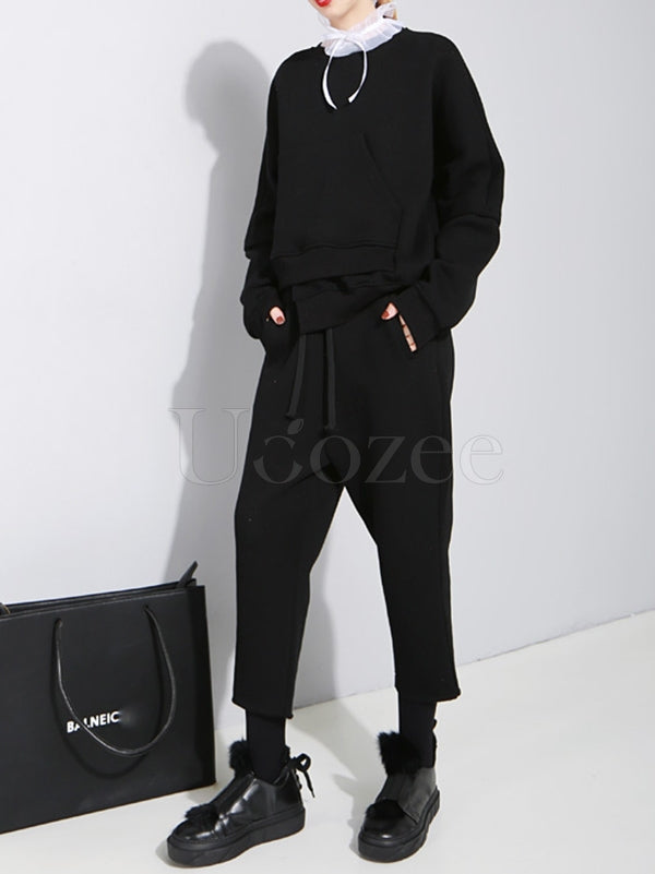 Original Solid Cropped Thicken Sweatshirt