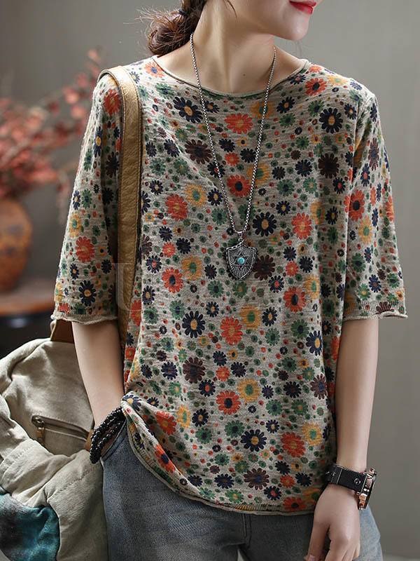 National Floral Half-Sleeve T-Shirt