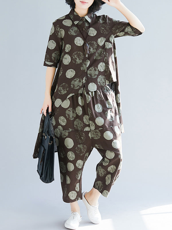 Loose Polka-Dot High-low Lapel Blouse&Pants Suits