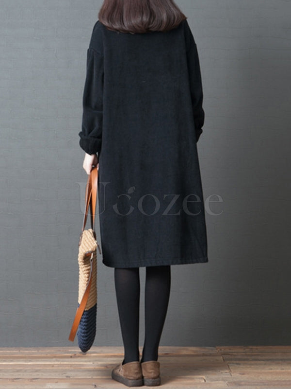 Loose Corduroy High-neck Sweatshirt Dress