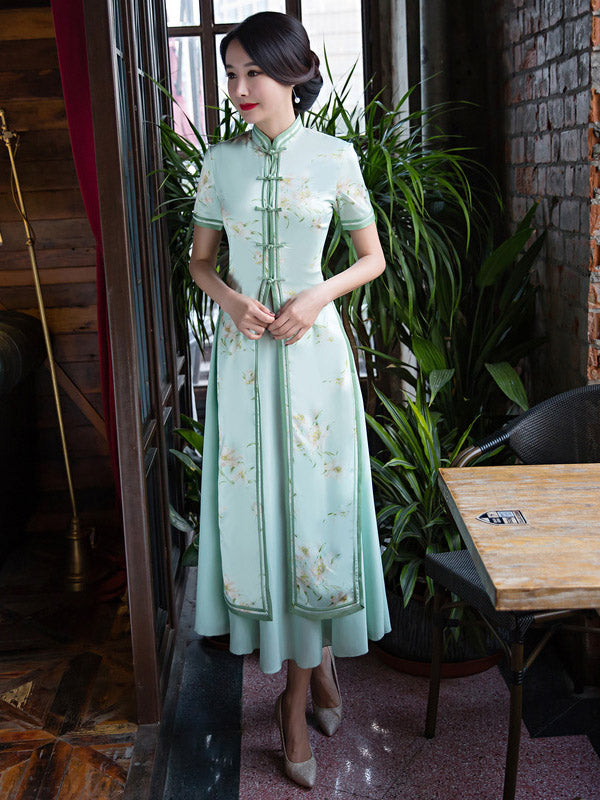 Light Green Two Pieces Ao Dai Long Cheongsam