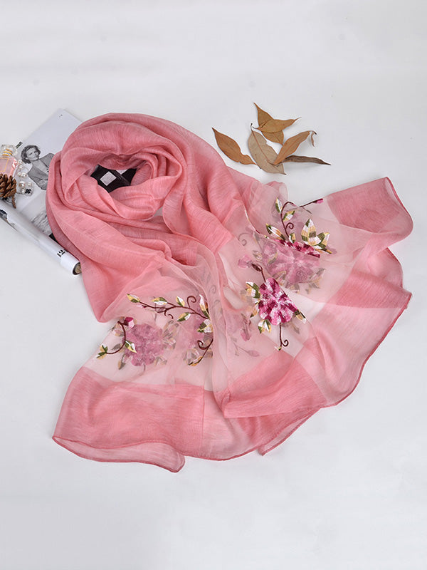 Mulberry Silk Embroidered Sun Protection Shawl Scarf