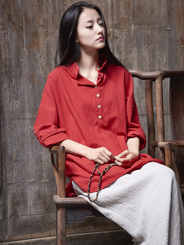 National Style Stand Collar Linen Shirt