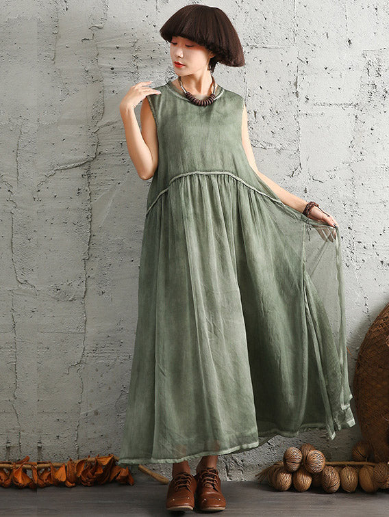 4 Colors Simple Sleeveless Ramie Cotton Long Dress