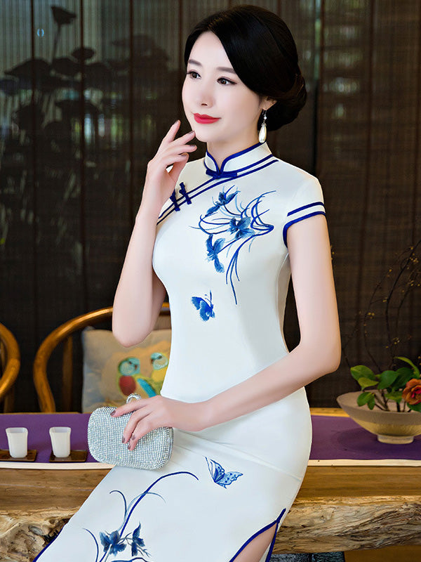 White Embroidered Split-side Long Cheongsam
