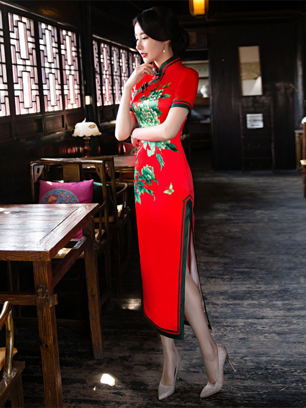 Red Peony Flower Side Split Long Cheongsam