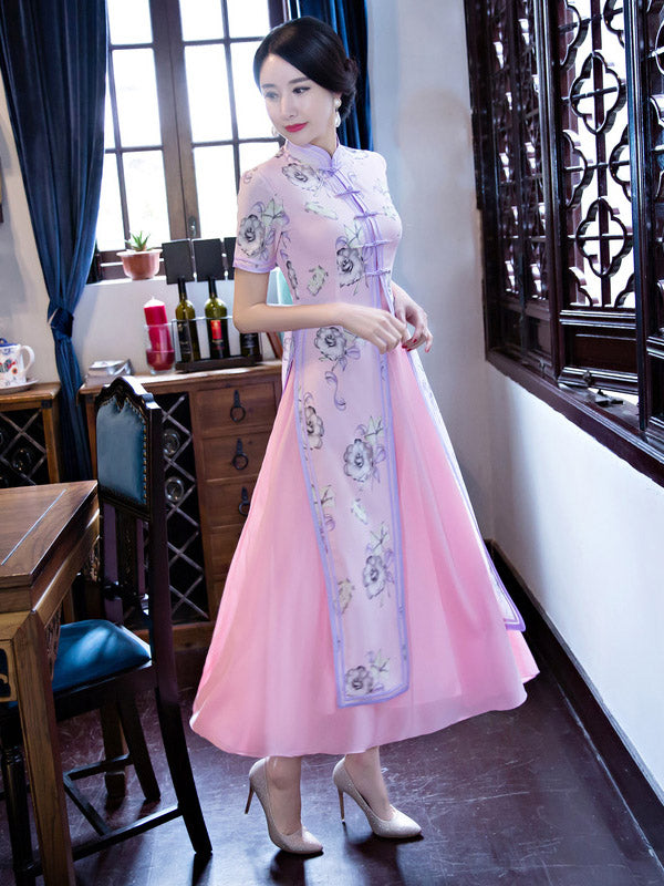 Two Pieces Yellow&Pink Ao Dai Long Cheongsam