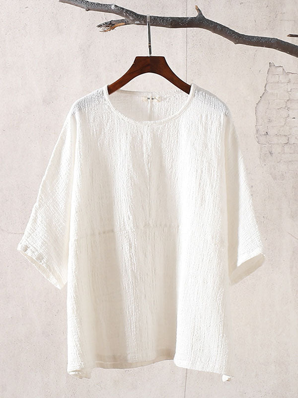 Ramie Cotton Vintage Split-joint Blouses
