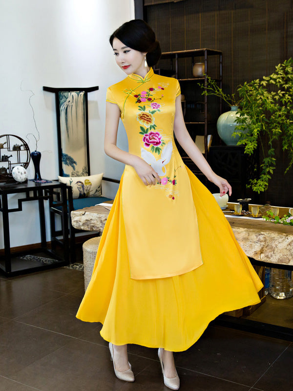 Yellow Peony Print Split-side Ao Dai Long Cheongsam