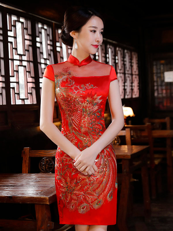 Red Phoenix Embroidered See-through Short Cheongsam