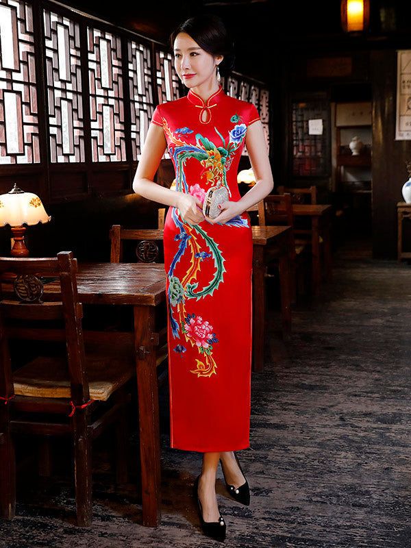 Red Phoenix Print Split-side Long Cheongsam