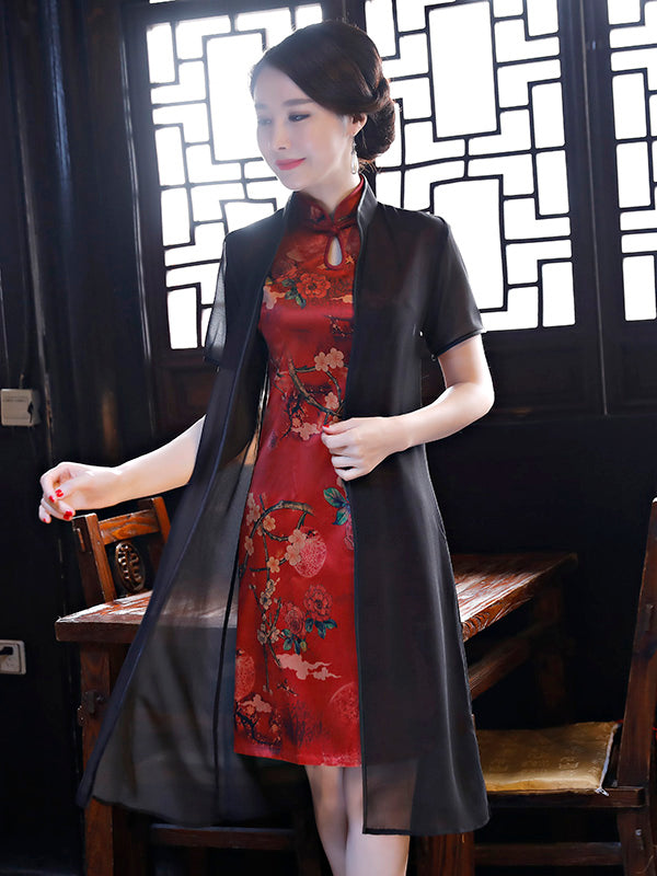 Two Pieces Flower Print Split-side Short Cheongsam