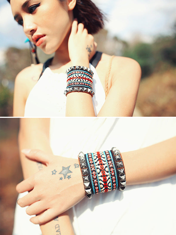 Original Rivet Braided Bracelet Set