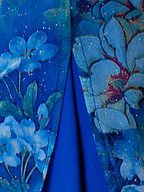 Vintage Blue Floral Stand-collar Ao Dai Long Cheongsam