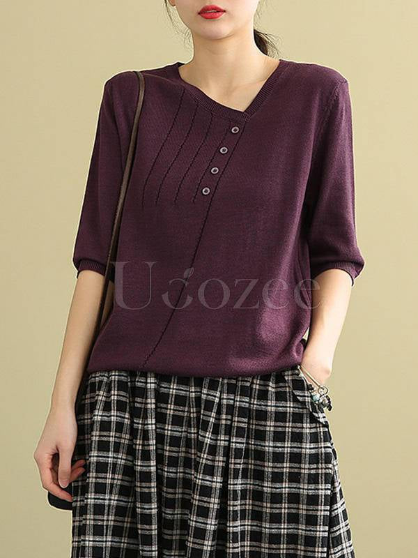 Solid V-Neck Casual Knitting Long Sleeve T-Shirt