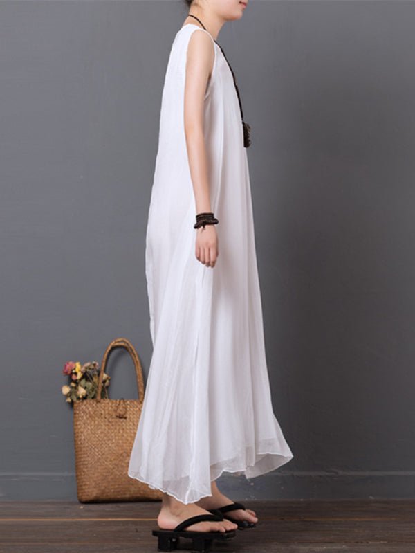 White Embroidered Chiffon Sleeveless Long Dress