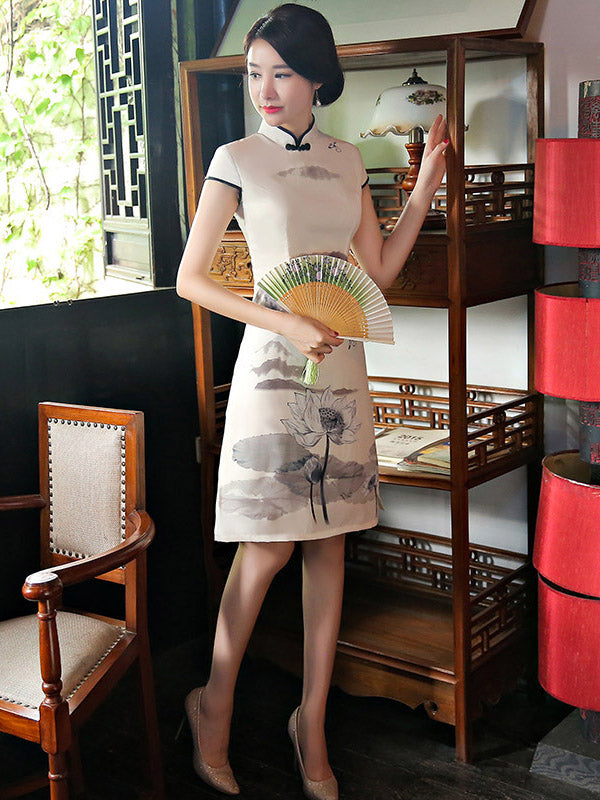Gray&Creamy Printed A-line Short Cheongsam