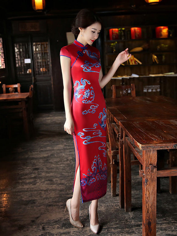 Red Split-side Printed Long Cheongsam