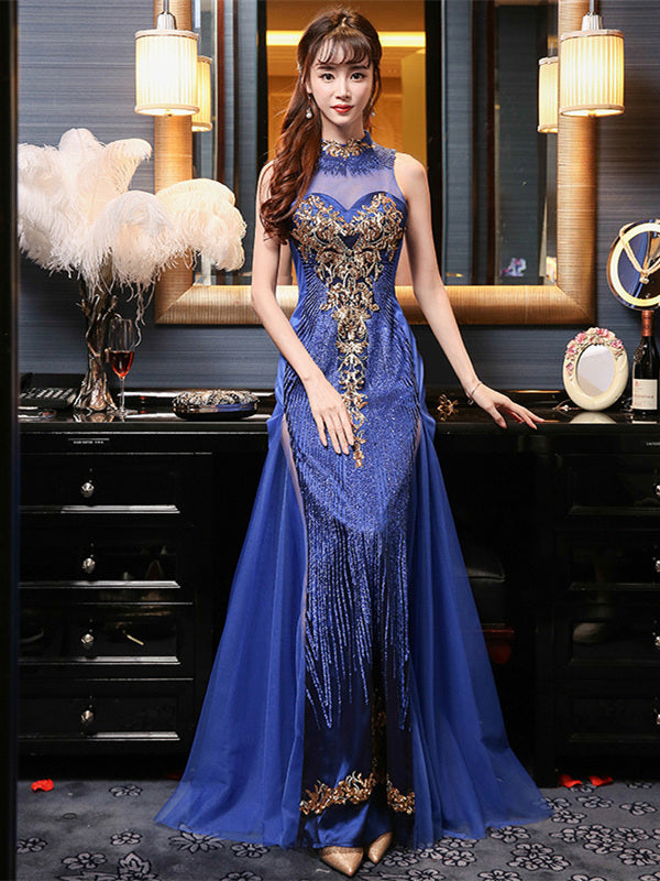 Blue Embroidered Applique Long Cheongsam Evening Dress