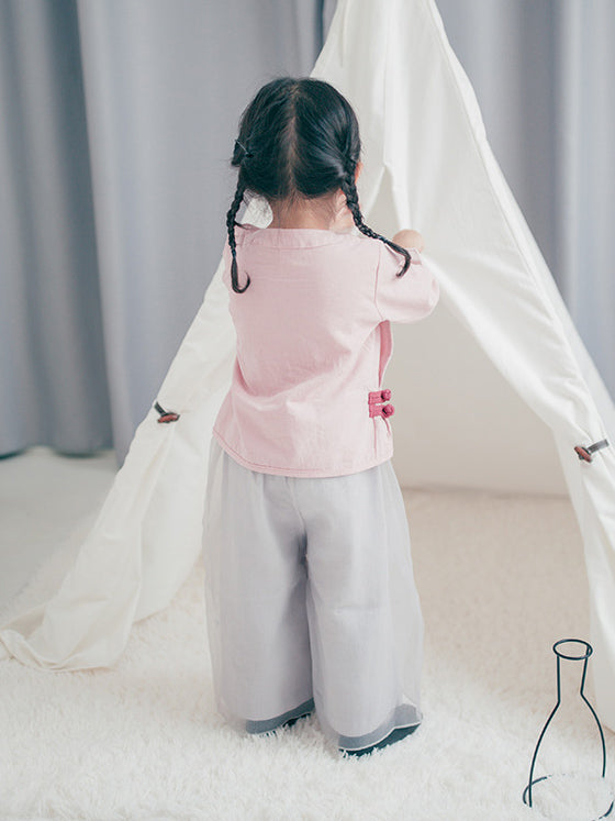 National Ramie T-shirt&Wide Leg Pants Kids Suits