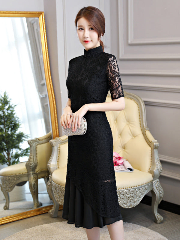 Black Lace Mermaid Stand-collar Long Cheongsam