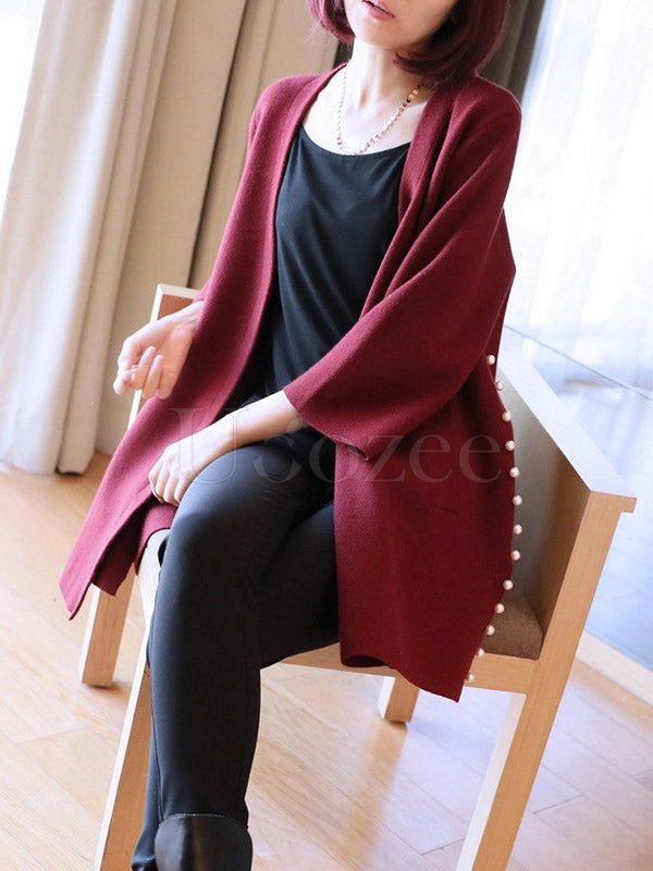 Loose Solid Beaded Knitting Cardigan
