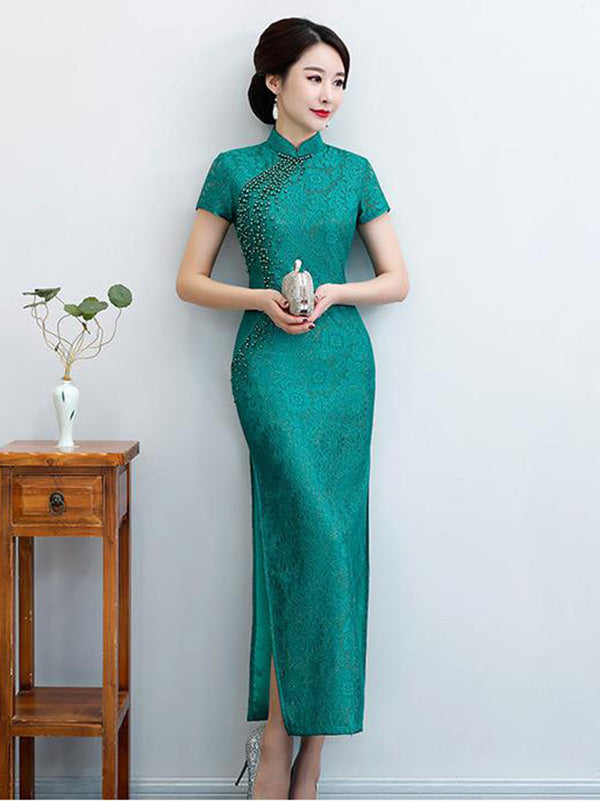 Pure Color Split-side Long Cheongsam