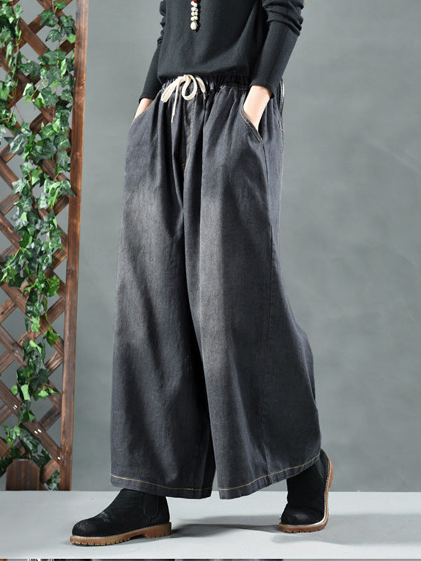 Super Loose Wide-leg Lace-up  Pants