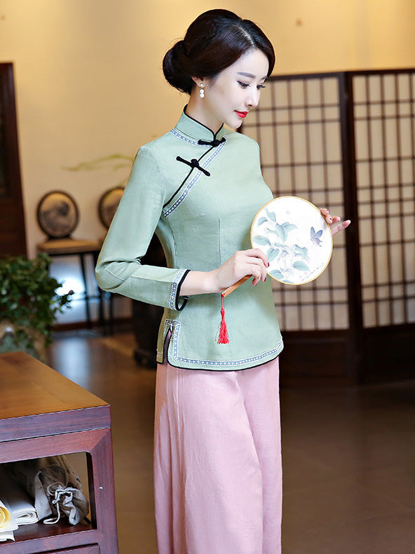 Gray-green Ramie Cotton Cheongsam Tops