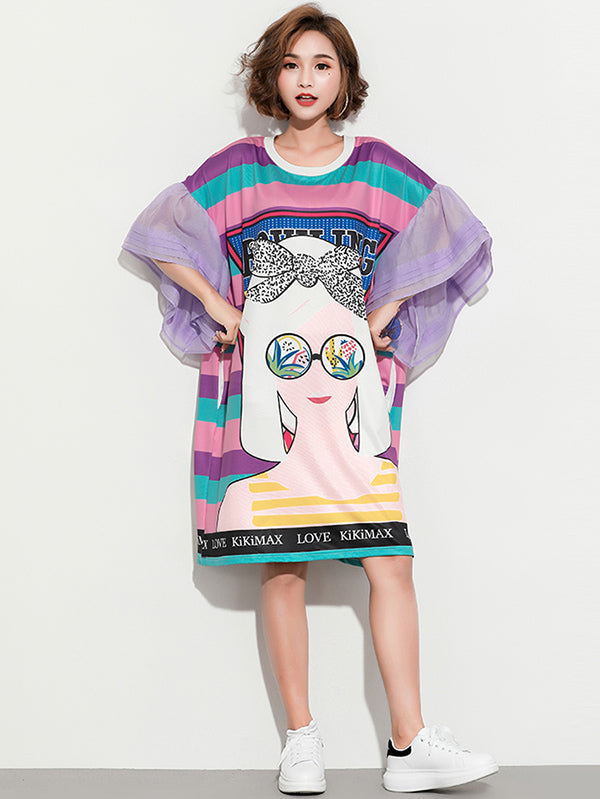 Plus Size Loose Round-neck Printed Flared Sleeves T-shirt Dress
