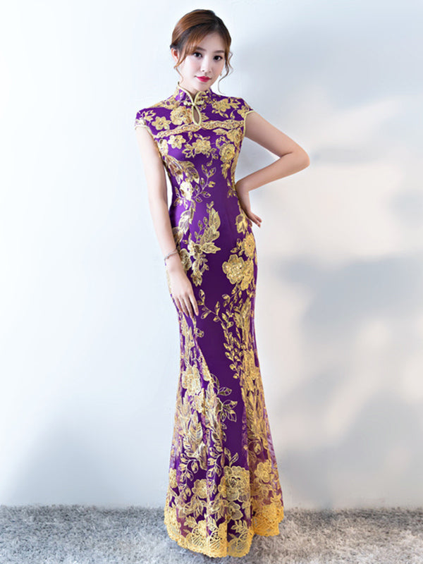 Formal Lace Embroidered Mermaid Cheongsam Evening Dress