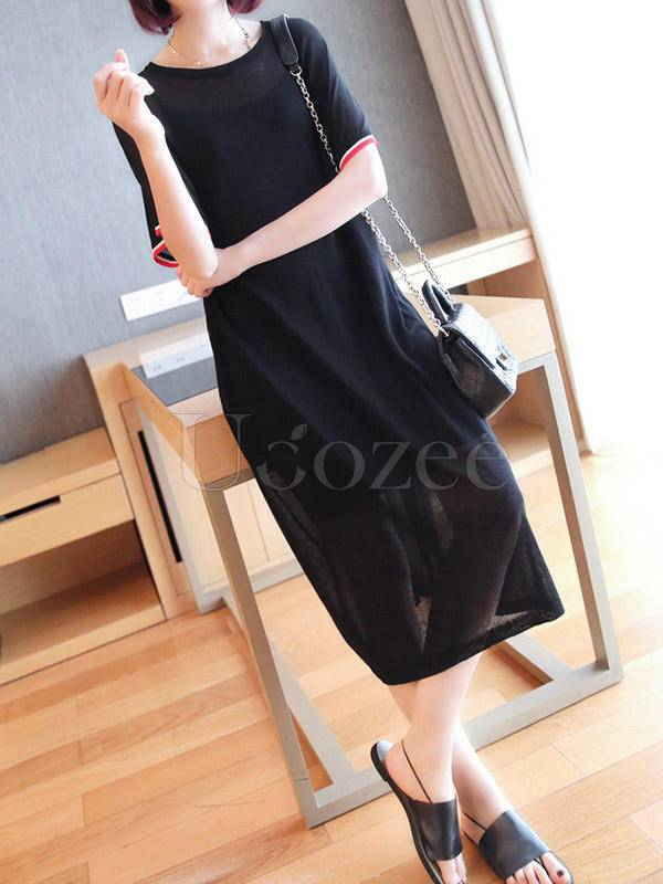 Loose Hollow Solid Color Round-Neck Dress