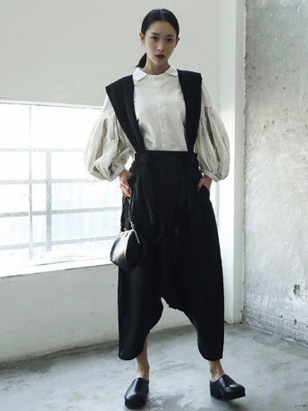 Solid Linen Loose Harem Pants