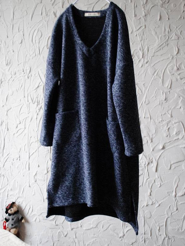 Loose V-neck Woolen Tops
