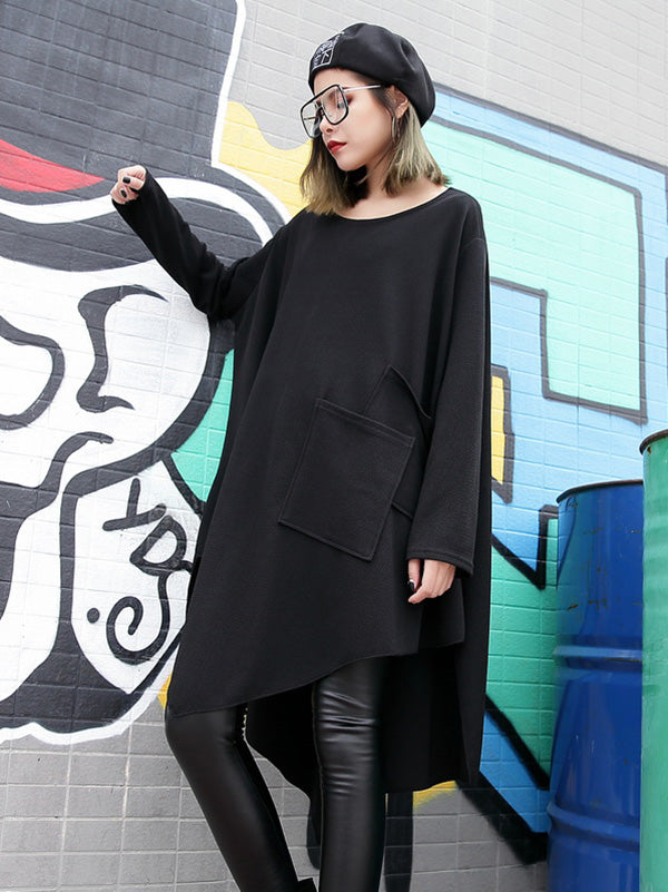 Loose Black Round-neck Asymmetric T-shirt Dress