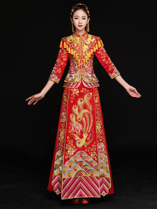 Phoenix Embroidered Tasseled Xiuhe Suit Toast Suit Wedding Dress