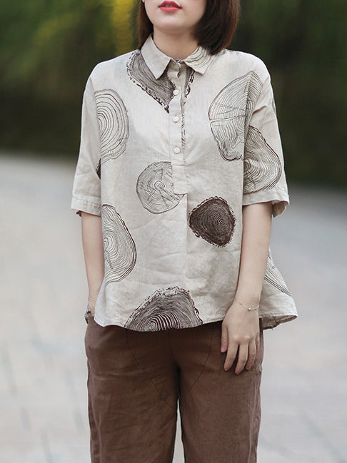 Ramie Cotton Loose Annual Ring Pattern Shirt Tops