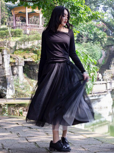 Simple Black Two Ways To Wear Gauze Skirt