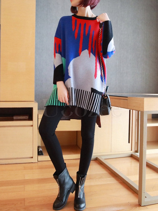Loose Contrast Color High-Low Knitting Sweater