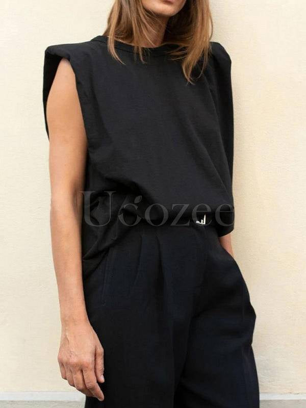 Solid Color Sleeveless Loose T-Shirt