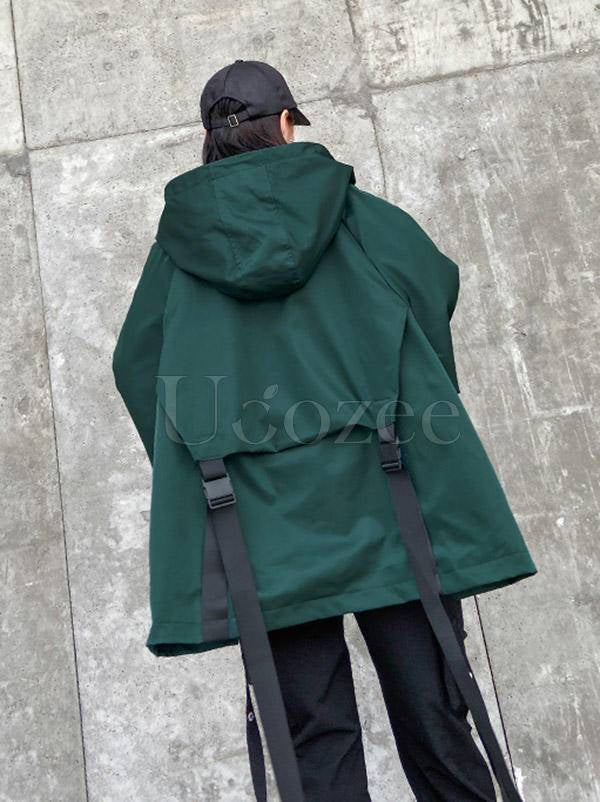 Stylish Loose Large Pocket Zipper Hood Outwear