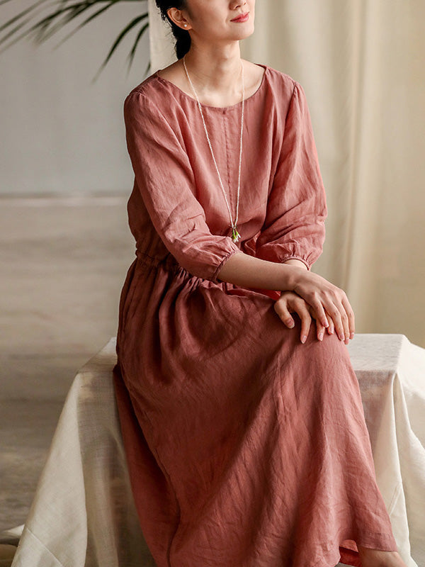 Loose Literary Ramie Cotton Long Dress