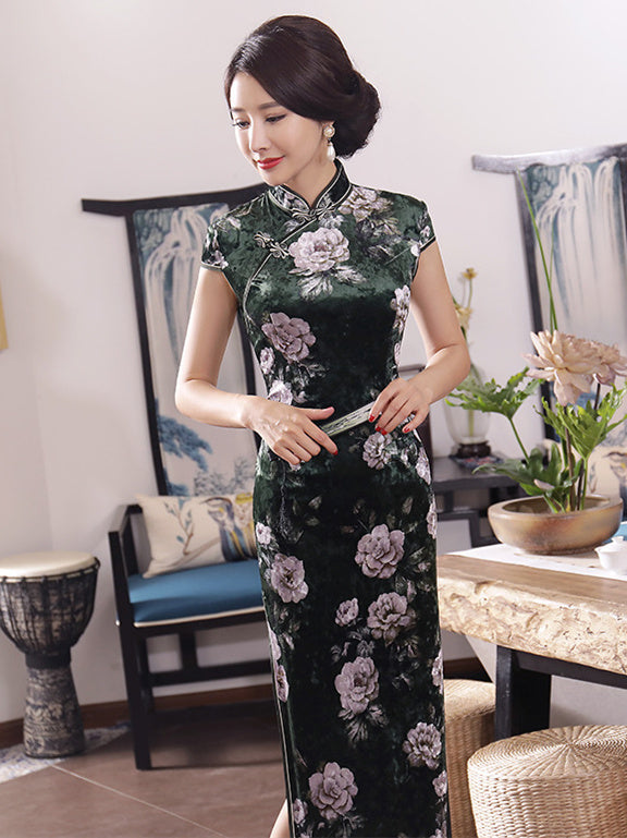 Velvet Ink Green Peony Print Long Cheongsam Dress