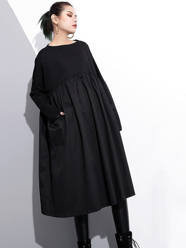 Loose Black Split-joint Long Sleeves Dress
