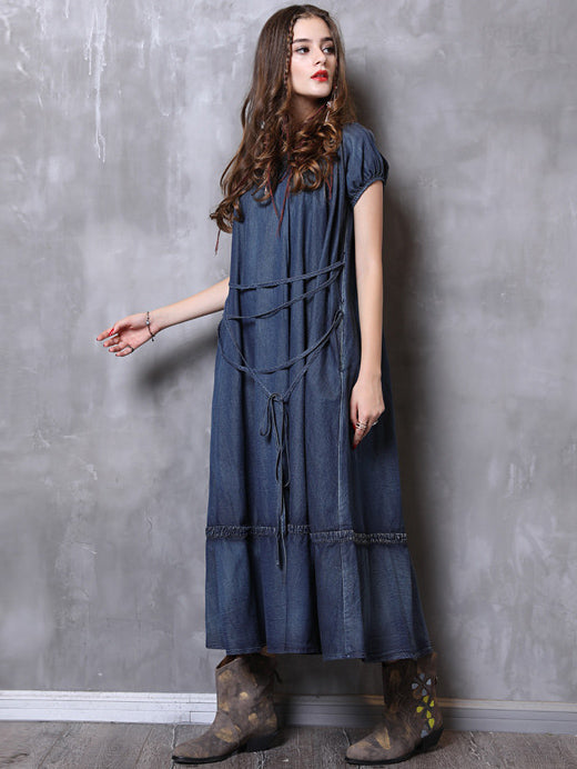 834bad587ab5 Simple Strap Loose Denim Midi Dresses – uoozee