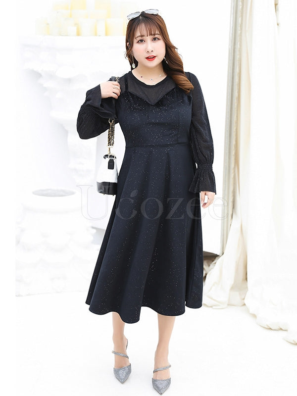 Loose Chubby Girl False-two Elegant Long Dress