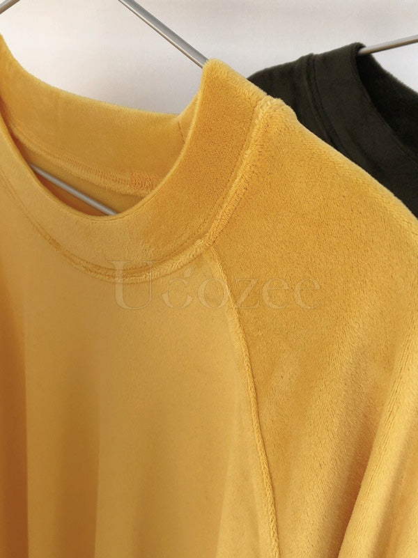 Simple Padded Long Sleeve Round-Neck T-Shirt