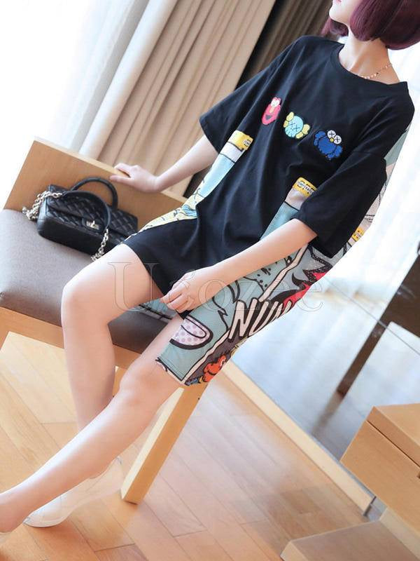 Loose Print Cropped Long T-Shirt