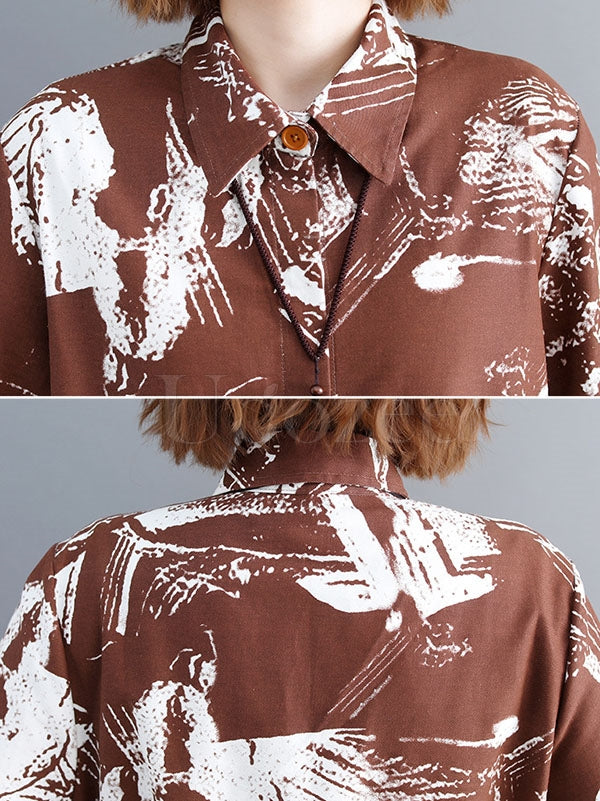 Loose Cropped Printed Long Shirt